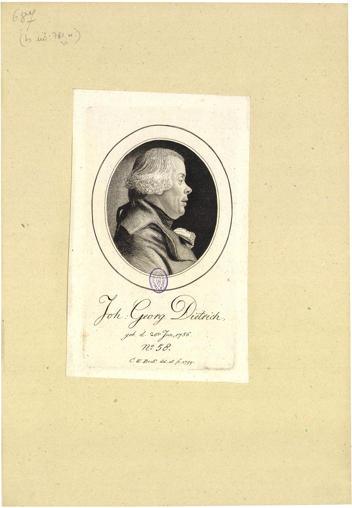 Joh. Georg Dietrich geb. d. 20ten Jun. 1756.