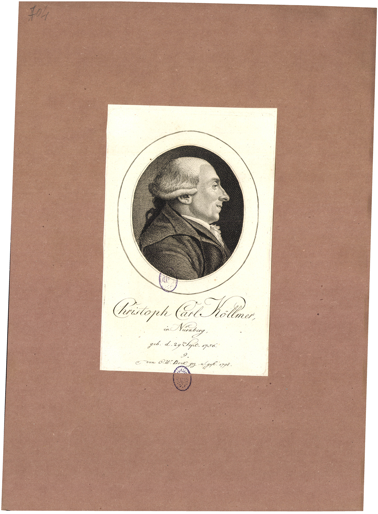 Christoph Carl Köllmer in Nürnberg, geb. d. 29ten Sept. 1756.