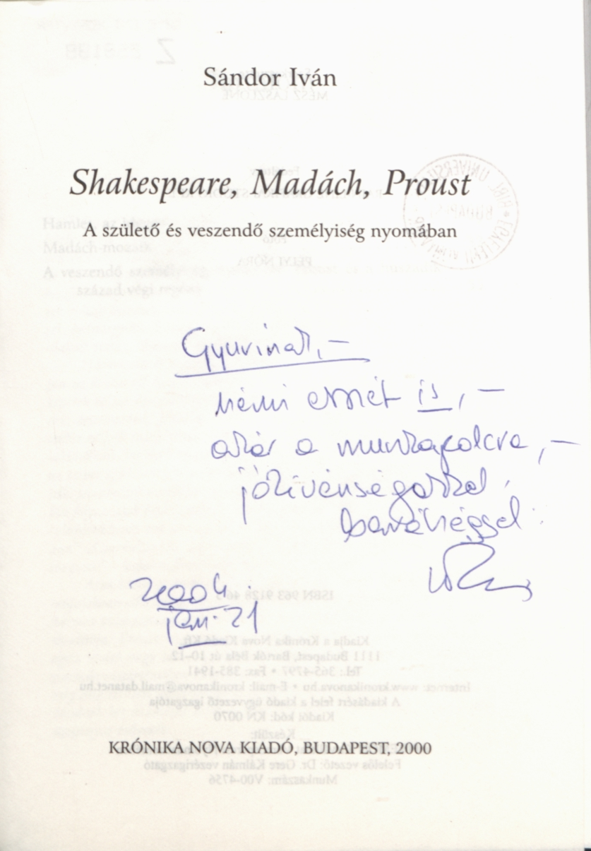 Shakespeare, Madách, Proust