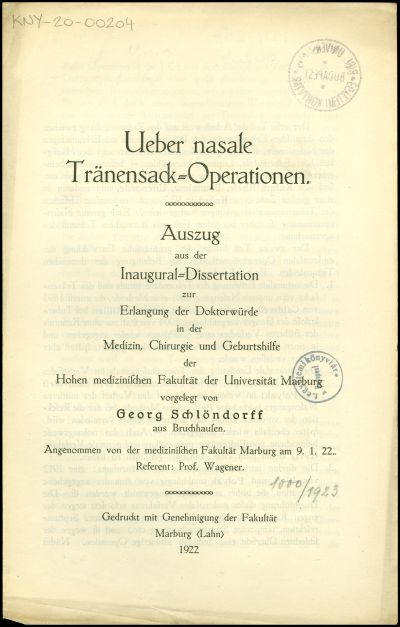 Ueber nasale Tränensack-Operationen
