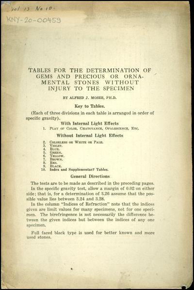 Tables for the determination of gems and precious or ornamental stones without injury to the specimen