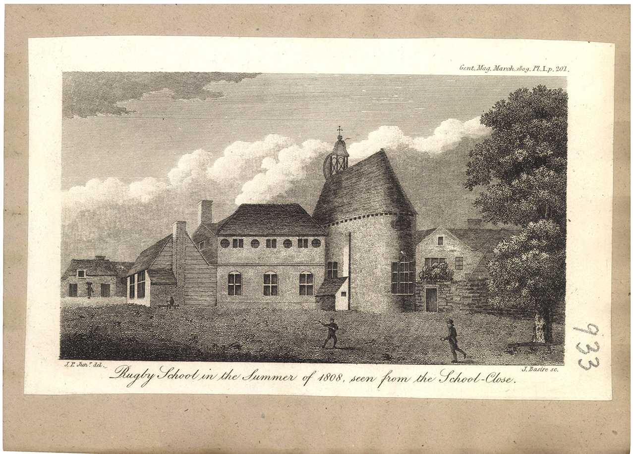 Rugby-school in the Summer of 1808, seen from the School-Close.