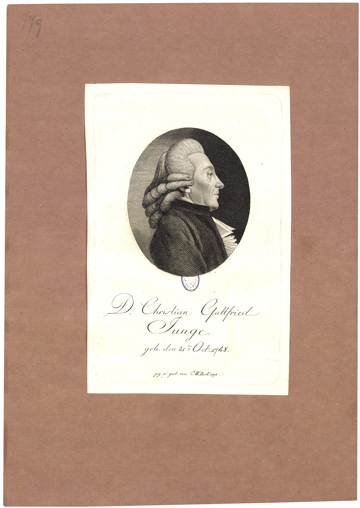 D. Christian Gottfried Junge. geb. den. 21ten Oct. 1748
