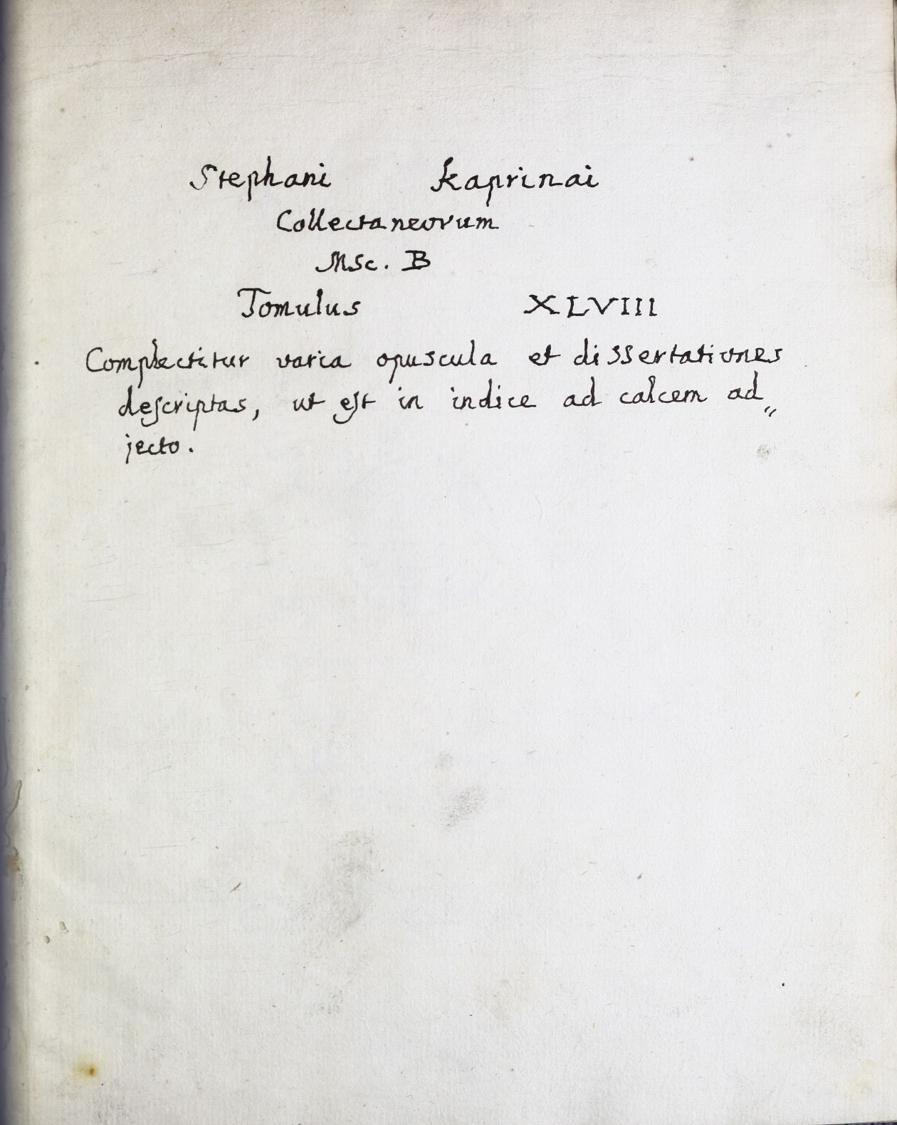 Index operum in tomo 48. contentorum (Collectio Kaprinayana, series B)